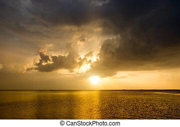 raggi, sopra, tramonto, lago