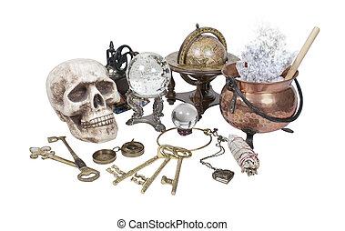 rame, palla, articoli, -, chiavi, cristallo, cranio, strega, scrivania, included, percorso, vaso, altro