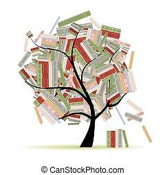 rami, albero, biblioteca, libri, disegno, tuo