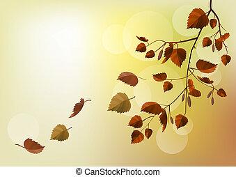 ramo, luce, foglie, autunno, sfondo beige