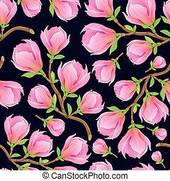 ramo, magnolia, seamless, modello