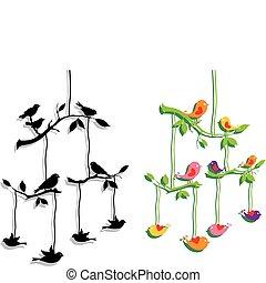 ramo, vettore, albero, uccelli