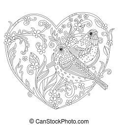 ramoscelli, foglie, stilizzato, heart., forma, fiori
