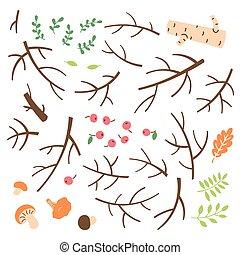 ramoscelli, rami, stile, set, appiccicare, semplice, disegnato, cartone animato
