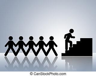 rampicante, lavoro, scale, promozione