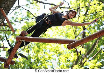 rampicante, parco, avventura, corda