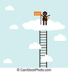 rampicante, scala, successo, uomo affari