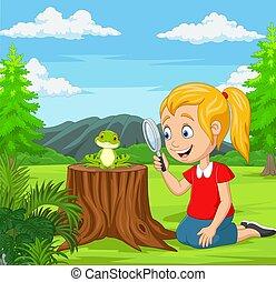 rana, dall'aspetto, poco, magnificatore, giardino, usando, ragazza