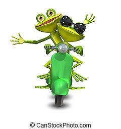 rane, scooter, due, illustrazione, motore, 3d