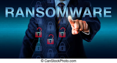 ransomware, direttore, spinta, onscreen