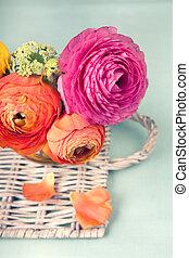 ranunculus, vimine, fiore, vassoio, colorito