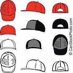 rap, delineato, berretto, tennis, baseball, sagoma