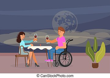 rapporti, invalido, concetto, romantico, persone