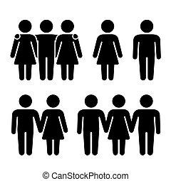 rapporti, solo, vettore, umano, threesome, combination., sessuale, icone, set., coppia