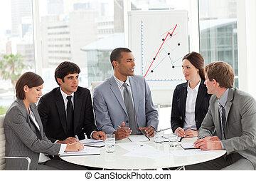 rapporto affari, vendite, gruppo, studiare