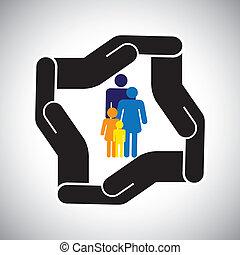 rappresenta, grafico, bambini, famiglia, incidente, protezione, ecc, anche, concetto, sicurezza, padre, vector., madre, assicurazione sanitaria, o