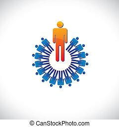 rappresenta, grafico, come, colorito, anche, astratto, illustrazione, datore lavoro, ecc, direttore, followers., impiegato, concetti, condottiero, lavoratore