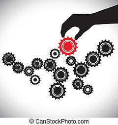 rappresenta, grafico, controllato, person(leader), &, importanza, liscio, illustrazione, questo, vettore, nero rosso, chiave, squadra, equilibrio, bianco, funzionamento, ruote dentate, hand(person)., ingranaggio