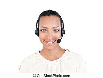 rappresentante, cuffia, servizio, sorridente, cliente