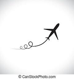 rappresentare, alto, aeroplano, velocità, relativo, su., silhouette, jet, &, cielo, anche, prendere, accelerare, simbolo, esposizione, illustrazione, percorso, icona, grafico, spento, questo, zoom, lattina, militare