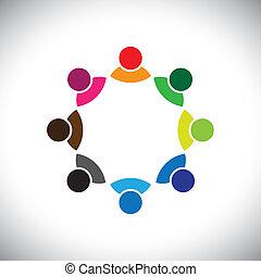 rappresentare, concetto, esecutivo, bambini, gruppo, anche, impiegato, riunione, lattina, group., colorito, discussione, grafico, questo, insieme, gioco, ecc, vettore, multi-etnico, squadra, corporativo, o