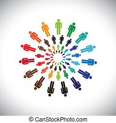 rappresentare, concetto, persone, globale, collaborare, interagire, &, anche, altro, multi-etnico, colorito, sociale, comunità, circles., grafico, questo, squadre, vettore, lattina, ciascuno, incontrare, o