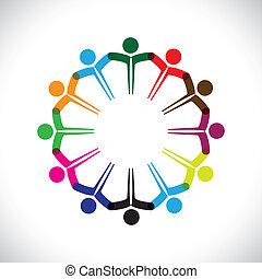 rappresentare, concetto, persone, graphic-, lavoro squadra, insieme., bambini, &, anche, unità, impiegato, rete, gioco, diversità, illustrazione, riunione, mani, bambini, questo, icone, ecc, vettore, lattina, o