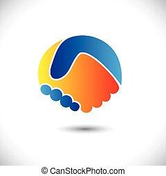 rappresentare, concetto, persone, shake., associazione, &, -, gesti, anche, unità, nuovo, amicizia, illustrazione affari, mano, amici, icona, grafico, questo, augurio, fiducia, ecc, vettore, lattina, o