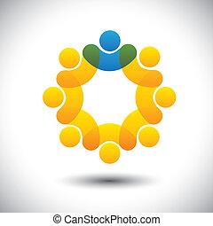 rappresentare, concetto, supervisore, astratto, comunità, direttore, &, -, anche, vector., cerchio, condottiero, membri, condottiero, icona, grafico, personale, questo, personale, icone, direzione, ecc, lattina, squadra