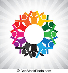 rappresentare, diversità, semplice, graphic., bambini, personale, unito, anche, presa a terra, impiegato, cerchio, felice, collaborative, illustrazione, riunione, hands-, lavorante, questo, o, ecc, vettore, lattina, gioco, funzionari