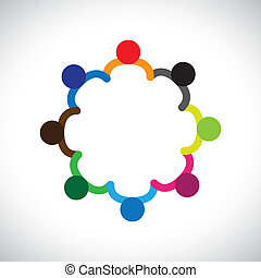 rappresentare, grafico, diversity., diversità, bambini, &, questo, formare, gioco, persone, bambini, anche, concetto, lavoro squadra, lattina, tenere mani, contiene, squadra, corporativo, circle.