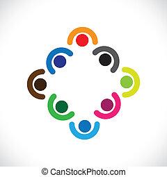 rappresentare, o, bambini, diversità, &, graphic., persone, huddling, illustrazione, meeting-vector, unità, insieme, riunione, squadra, funzionari, personale, gioco, corporativo, bambini, lattina