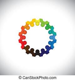 rappresentare, persone, comunità, bambini, riunioni, -, asilo, anche, vector., impiegato, cerchio, colorito, gioco, illustrazione, bambini, scuola, grafico, studenti, questo, insieme, ecc, lattina, o