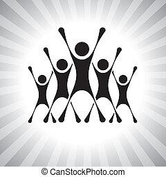 rappresentare, persone, graphic., membri, anche, vincitori, eccitato, lattina, eccitato, secondo, illustrazione, sfida, saltare, achievers, super, persone, questo, competition-, ecc, vettore, vittoria, squadra