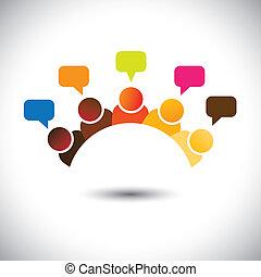 rappresentare, riunioni, gruppo, ufficio, ecc, questo, graphic., illustrazione, lavoro squadra, infuriare, vettore, cervello, lattina, membri, discussioni, executives(employees), opinions-, airing, opinioni, personale