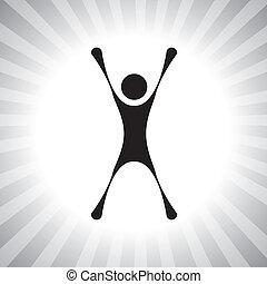 rappresentare, semplice, graphic., persona, realizzazione, ecc, vincitore, individuale, vincente, anche, eccitato, eccitato, gioia, secondo, illustrazione, saltare, challenge-, super, questo, concorrenza, persona, vettore, lattina