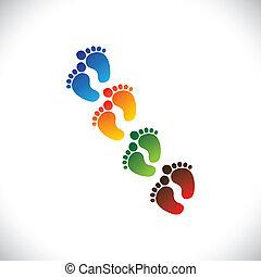 rappresentare, toddler's, scuola, bambino, graphic., bambino, vivaio, &, -, asilo, gioco, colorito, pre-scuola, illustrazione, bambini primi passi, passo, cura piede, paia, bambini, questo, centri, ecc, vettore, lattina, o