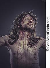 rappresentazione, croce, spine, religione, fede, corona, cristo, calvary, gesù, ferite