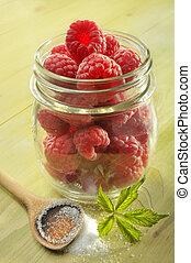 raspeberries, zucchero