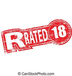 rated, francobollo, r