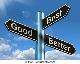 ratings, buono, signpost, meglio, miglioramenti, rappresentare, meglio