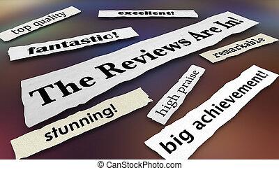 raves, feedback, illustrazione, revisioni, titoli, 3d