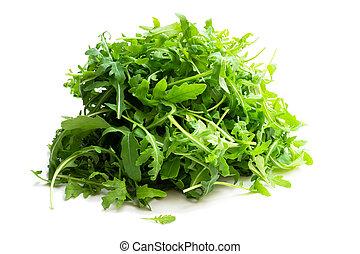 razzo, insalata, fresco, isolato, bianco, verde