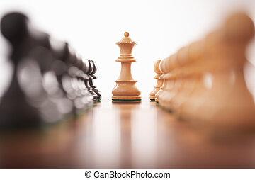 re, file, scacchi, due, pegni, centro, bianco