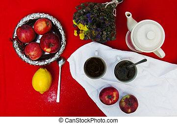re, limone, tè, giallo, tazza