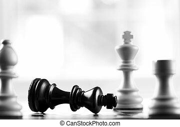 re, nero, defeats, scacco matto, bianco