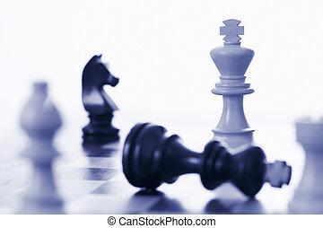 re, nero, gioco, scacchi, sconfitta, bianco