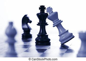 re, nero, scacchi, attacchi, bianco