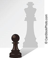 re, uggia, vettore, scacchi, pegno