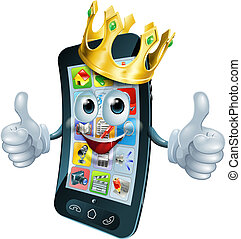 re, uomo, cartone animato, telefono